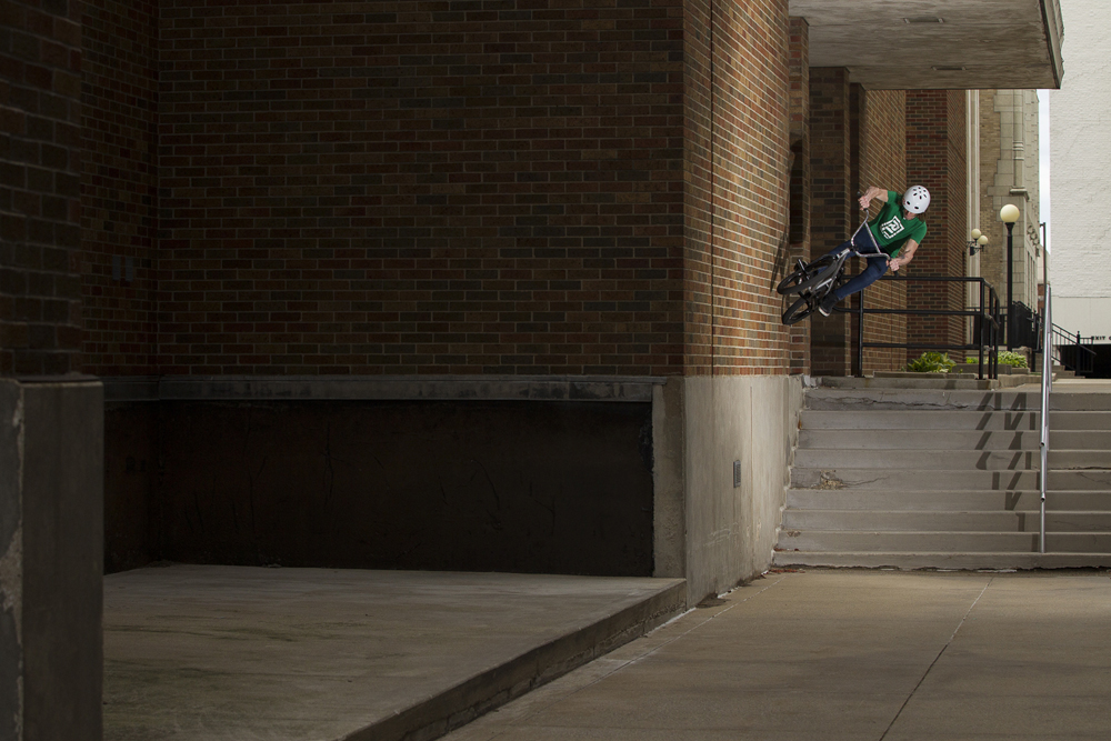 Glenn Salyers wall ride over a nine set in South Bend, Indiana