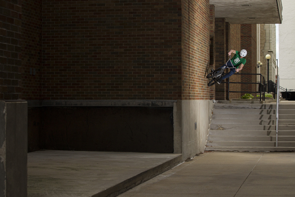 Glenn Salyers wall ride over a nine set in South Bend, Indiana.