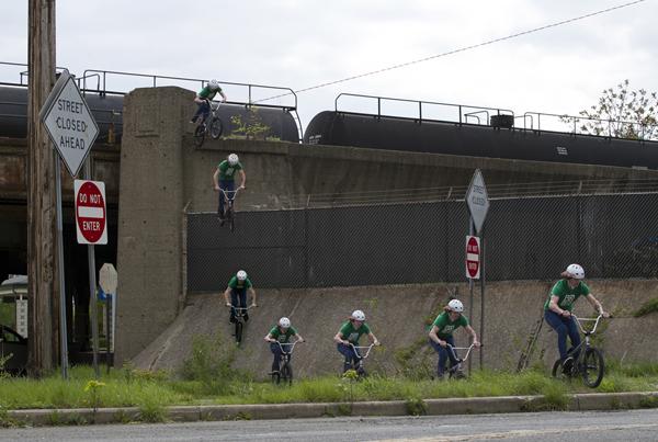 Glenn Salyers jumping off a bridge.