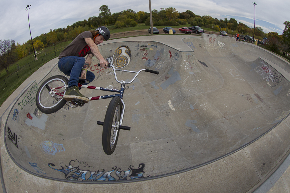 Glenn Salyers tobogans out of the bowl in Charlotte, Michigan