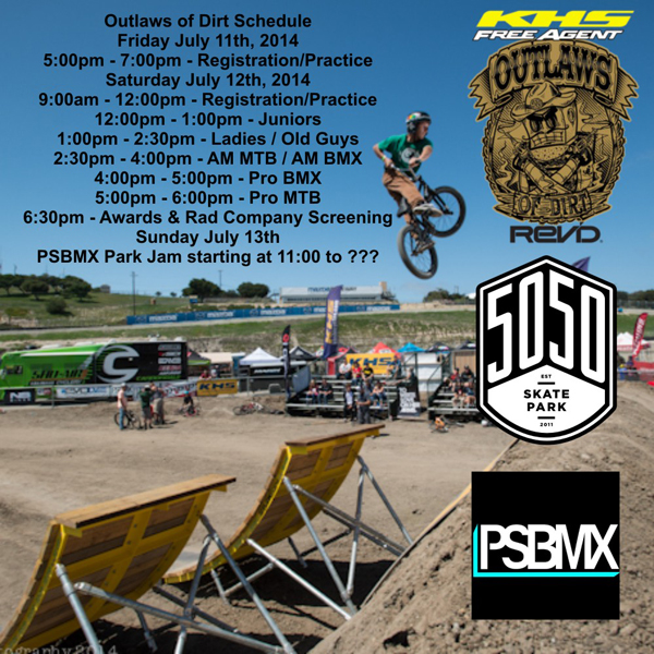 Schedule For Outlaws Of Dirt At 5050 Skatepark