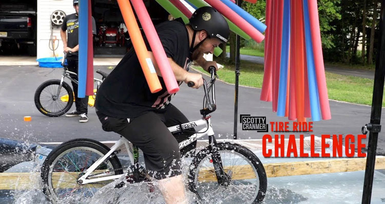 Scotty Crnamer Pool Tire Ride challenge BMX video