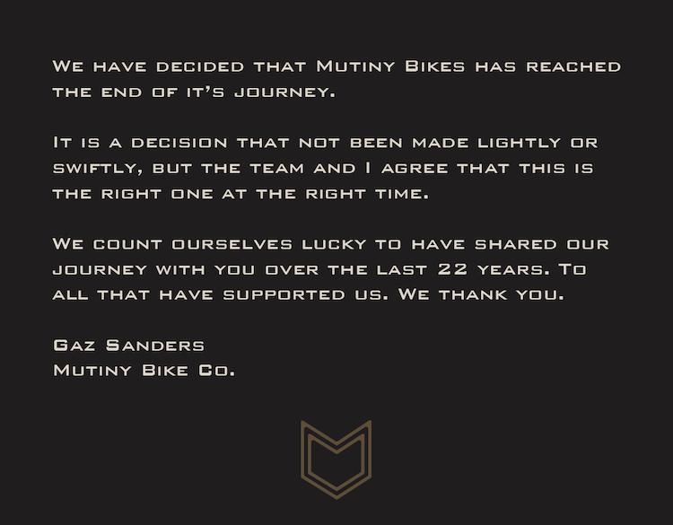 Mutiny Bikes Closing